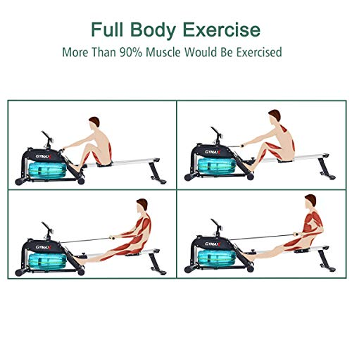Goplus Water Rowing Machine Indoor Water Rower with Adjustable Resistance Water Wheel LCD Monitor & Heart Rate Sensor Full Body Exercise for Home Use by Goplus (Image #3)