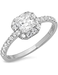 1.3 CT Princess Cut Pave Halo Bridal Engagement Anniversary Promise band Ring 14k White Gold