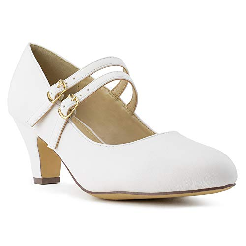 (Women's Wide Fit Mary Jane Chunky Heel Dress Pumps (True Wide Width) (True Wide Width) White)