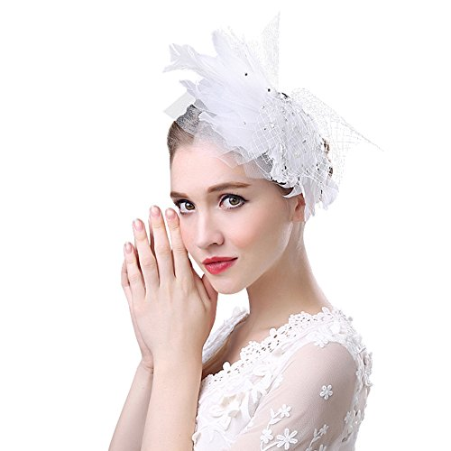 Muryobao Women's Fascinator Hat Feather Hair Clip Party Hat Flower Kentucky Derby Headband Hats with Veil for Wedding Church Cocktail (Flower Hats For Halloween)