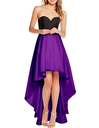 Dress Purple AiniDress Sweetheart Low Evening Women Prom Gown Satin Cocktail s Black High 7AYSW7q