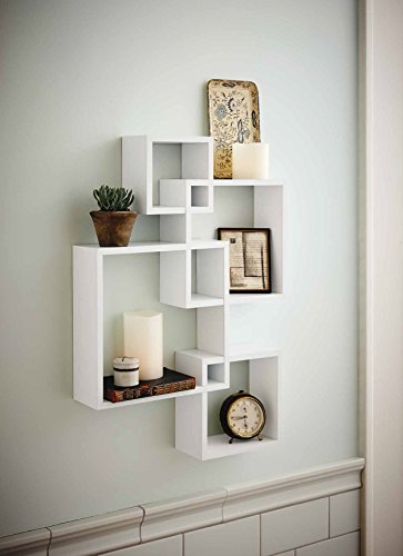 shelving solution intersecting decorative white color wall shelf set of 6 2 candles included - Decorative Shelf