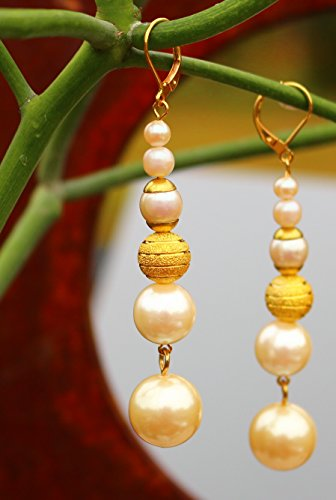 Gold plated faux pearls one etched gold plated bead dangle pierced EARRINGS by Inga Engele 3