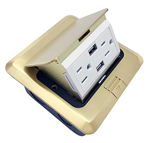 Pop Up Floor Box Countertop Box w/15A with 2 USB Charging Ports Receptacle - Brass by LHFACC (Image #2)