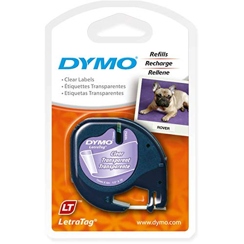 (DYMO Authentic LetraTag Labeling Tape for LetraTag Label Makers, Black print on Clear pastic tape, 1/2'' W x 13' L, 1 roll (16952))