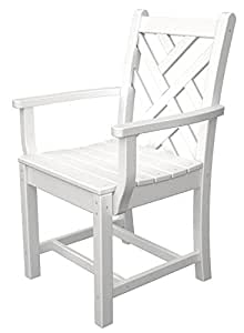 """34.75"""" Recycled Earth-Friendly Outdoor Patio Dining Arm Chair - White"""