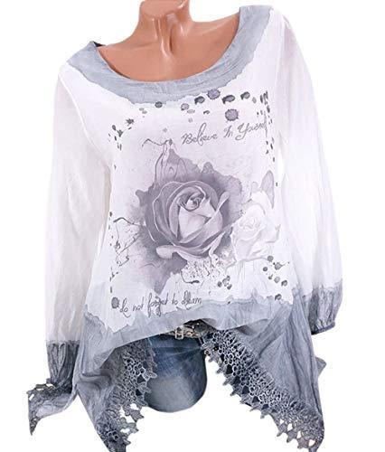 Femmes Manches JackenLOVE Blouse Gris Printemps Tee Mode Col T Shirts Hauts et Imprime Tunique Longues Rond Chemisiers Shirt Casual Tops Automne Trtr1ngxZ