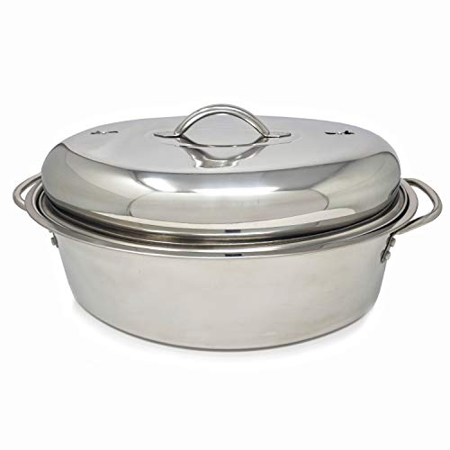 Stainless Steel Oval Lidded Roaster Pan Extra Large & Lightweight | With Induction Lid & Wire Rack | Multi-Purpose Oven Cookware High Dome | Meat Joints Chicken Vegetables 9.5 Quart Capacity by LavoHome (Image #5)