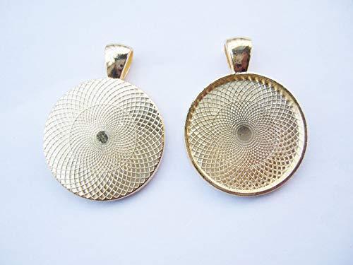 - FidgetFidget 10/20pcs Gold Plated Blanks Bezel Pendant Trays Fit 25mm Round Cameo Cabochon 10pcs