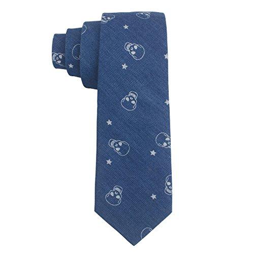 Denim Skull Dress (Flammi Men's Cotton Denim Necktie Printed Necktie for Parties (Dark Blue/Skull), with a Gift Box)