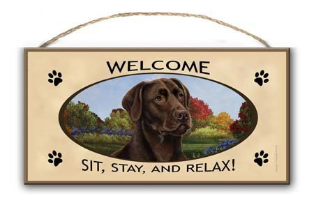 'Welcome - Sit, Stay and Relax!' Dog Breed Hanging Wooden Welcome Sign - 10