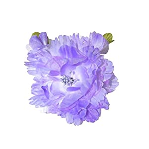 "Cuteque International Organza and Silk Peony with 2 Rosebuds Attached (Pack of 3), 4"", Iris 105"