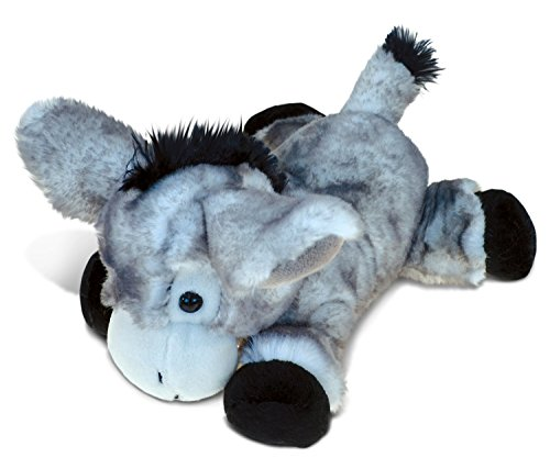 Puzzled Lying Grey Donkey Super-Soft Stuffed Plush Cuddly Animal Toy - Animal Theme - 9 INCH - Unique huggable loveable New friend Gift - Item #5364