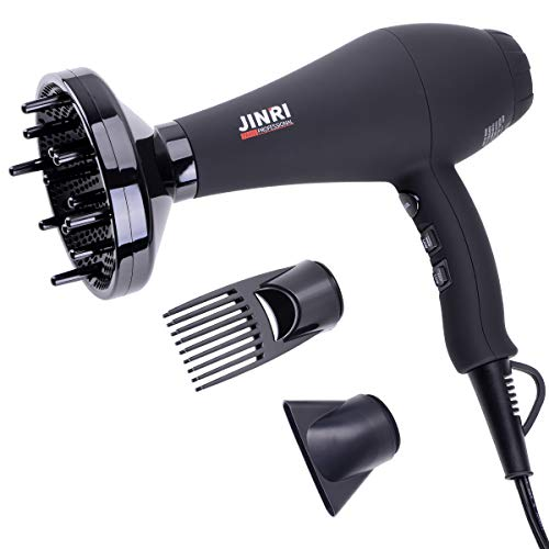JINRI 1875w Professional Salon Hair Dryer, Negative Ionic Hair Blow Dryer, AC Motor Infrared Heat Low Noise Hair Dryers with Diffuser, Concentrator & Comb, Black.