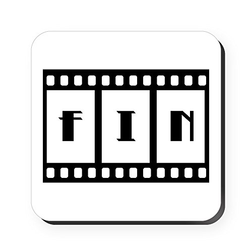 Square Coaster (Set of 4) FIN: Old Hollywood Movie Ending by Truly Teague