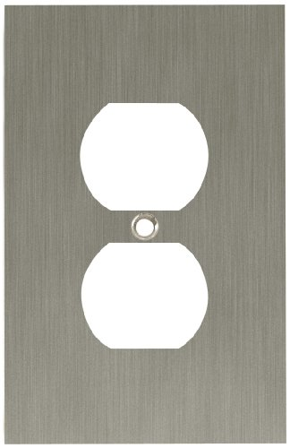 Modern Outlet Cover (Franklin Brass 64930 Concave Single Duplex Outlet Wall Plate / Switch Plate / Cover, Satin Nickel)
