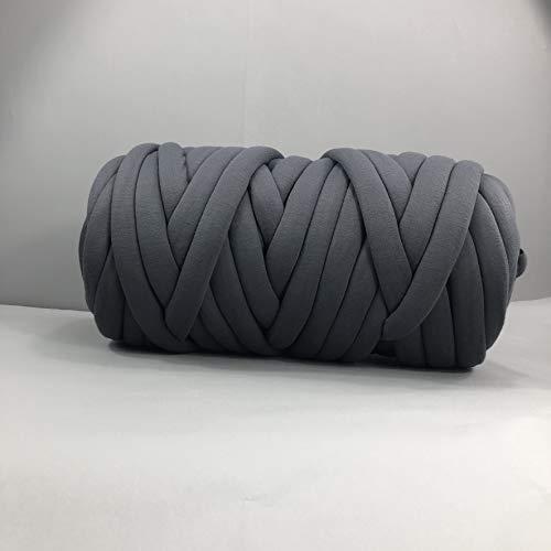 EASTSURE Chunky Braid Cotton Yarn Supre Large for Arm Knitting DIY Handmade Blankets Machine Washable,Dark Grey,0.55LB