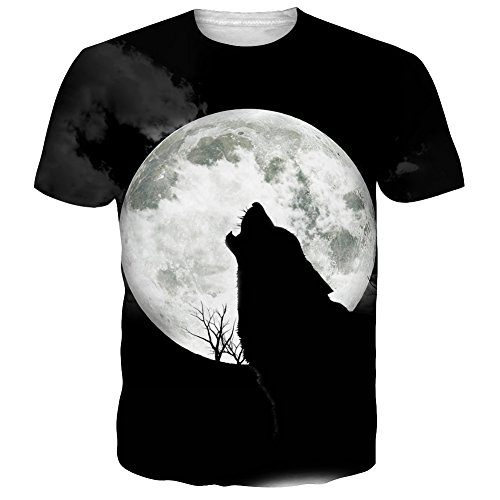 NEWISTAR Mens 3d Lone Wolf Moon Short Sleeve T-Shirt Tees Black M