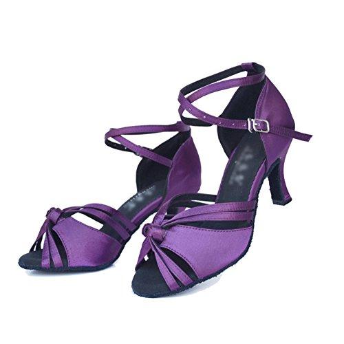 WYMNAME Womens Chaussures de Danse Latine,Fond Mou Talons Moyens Sandales D'intérieur Chaussures de Danse de Salon Violet