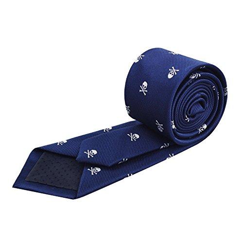 Printed Blue Alizeal Navy 6cm Pattern Slim Width Skull Necktie H6qSv