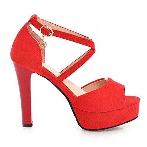 Chaussures Chaussures Rouge Sandales Mince Croisées Talons Hauts De Femelle Femme Nude Bouche Sangles De Couleur Été Talons Poisson Givré De HxHraX