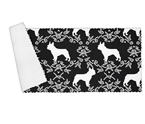 Floowyerion Highly Absorbent Bar Towels & Napkins Towels French Bulldog and Florals Silhouette Kitchen Dish Towel Set of 3,12 x 27 in - French Bulldog Silhouette
