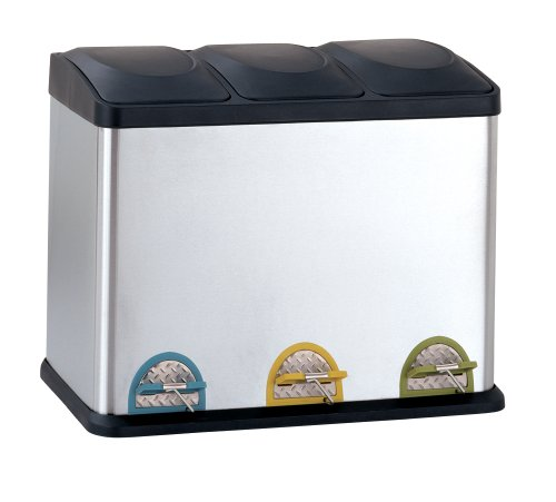 Organize It All Stainless Steel Step-On 12-Gallon Recycle Bin (12 Gallon Plastic Bucket)