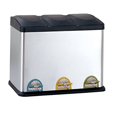 Organize It All Stainless Steel Step-On 12-Gallon Recycle Bin