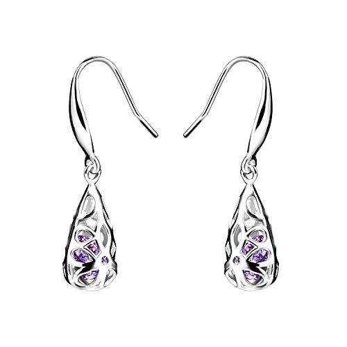 925 Sterling Silver Teardrop Earrings with Cubic Zirconia Fashion Jewellery for Women Girl, Dangle Hook Filigree Earrings by ()