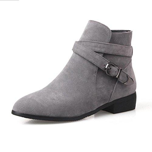 Ei&iLI Chaussures talons plat PU cheville Bootie bout pointu bottes pour dames tenue décontractés , gray , 34