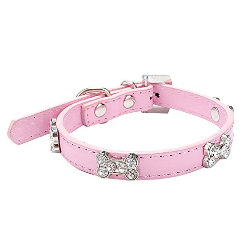 Neonr 6 Bling Crystal Into Bones Rhinestone Shape with PU Leather Simulation Leash Dog Cat Collar.(Pink) Crystal Bone Leather