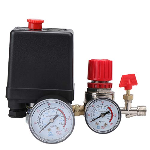 ESUMIC 90-120PSI Air Compressor Pressure Switch Control Valve Regulator with Gauges for Fast Pressure Reduction