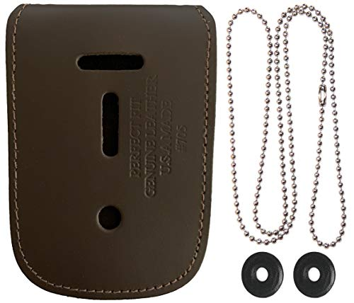 Universal Leather Neck Chain Badge and ID Holder - Dark Brown