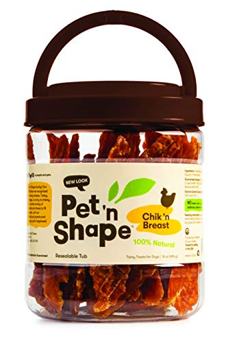 Pet 'n Shape Chik 'N Breast Jerky - All Natural Dog Treats, Chicken 1 Lb