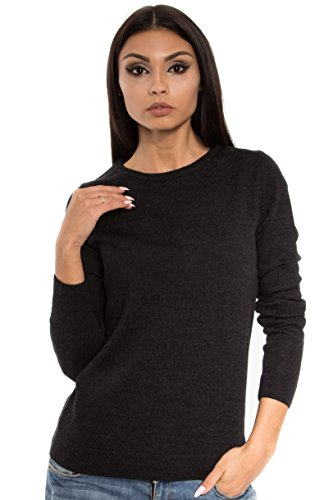 (KNITTONS Women's 100% Italian Merino Wool Classic Crew Neck Sweater Long Sleeve Pullover (Black Melange, Medium))