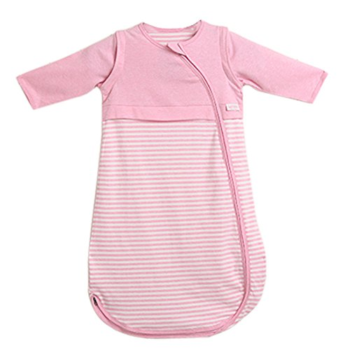 LETTAS Baby Boys and Girls 100% Cotton Stripe Removable Long Sleeve Sleeping Bag 0.5 Tog - Soft Wearable Blanket (S, Pink) by LETTAS