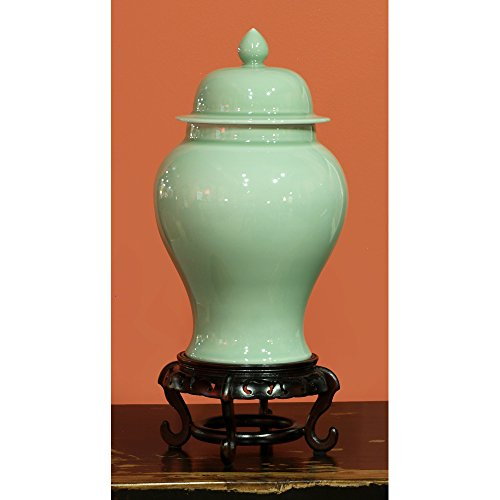ChinaFurnitureOnline Traditional Porcelain Decorative Ginger Jar - Celadon Green