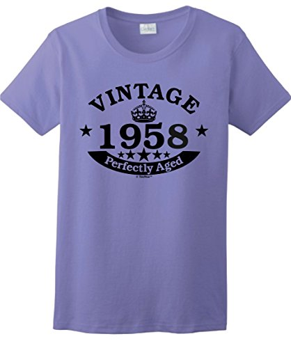60th Birthday Candles Cards 60th Birthday Gift Vintage 1958 Perfect Aged Crown Ladies T-Shirt XL Violet 1 Vintage Inspired Tee