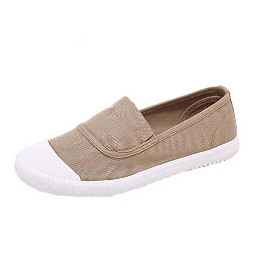 Rubber Trainers Casual Loafers Travel ANDAY Girl's Flats Toe Canvas Khaki Shoes a7qZAtw