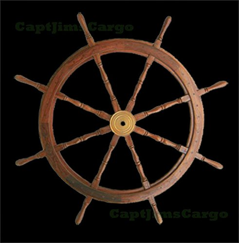 Teak Wooden Ships Steering Wheel 47'' Helm Nautical Boat Maritime Decor by Nautical Home Decoration