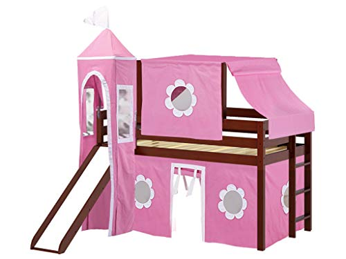 JACKPOT! Princess Low Loft Bed with Slide Pink & White Tent and Tower, Loft Bed, Twin, Cherry