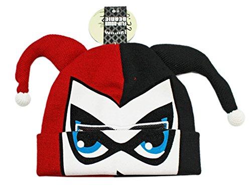 DC Comics Harley Quinn Flip-Down Cuff Beanie Hat