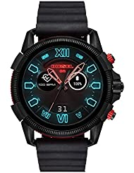 Diesel Mens Diesel ON Full Guard 2.5 Touchscreen Smartwatch Black Stainless Steel Black Silicone Band,Model (DZT2010)