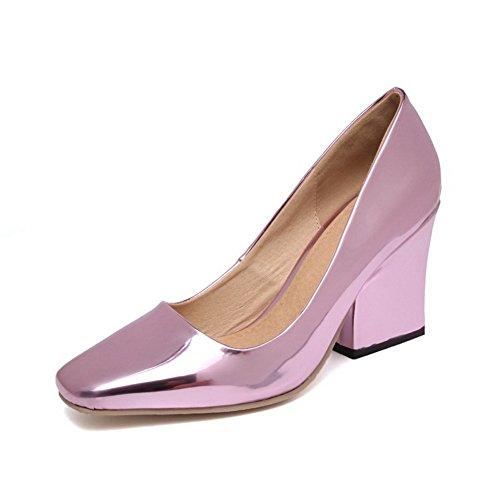 Balamasa Mujer's Pull-on Zapatos De Charol Con Punta Cuadrada, Zapatos De Color Rosa