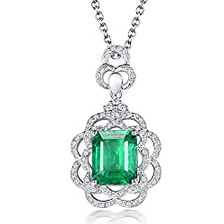 White Yellow Gold Genuine Emerald Diamond Pendant