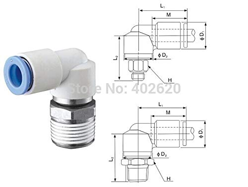Maslin SMC Type Pneumatic KSL10-02S 10mm OD(Outer Diameter) Tube 1/4'' Screw Thread Connector Series