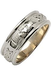Ladies Wide Round Claddagh Wedding Ring 14k White Gold Irish Made