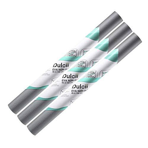Dulcii 3 Rolls Shelf Liner, 3-Pack Vinyl Shelf Liners Non-Adhesive Non-Slip EVA Kitchen Cabinet Drawer Liners Mat, Waterproof Refrigerator Liner/Mat/Pad, 17.7-Inch x 5-Feet, Dark Grey Diamond Pattern