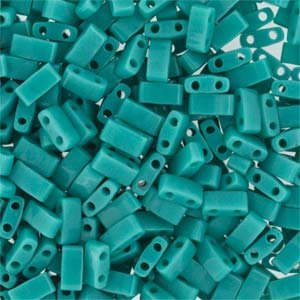 Miyuki Half Tila 2 Hole Rectangle Beads 5x2.3mm - Opaque Turquoise Green 7.8 Grams Green Turquoise Beads