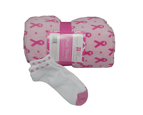 Fleece Breast Cancer (Plush Breast Cancer Pink Ribbon Throw Blanket and Pink Ribbon Socks)